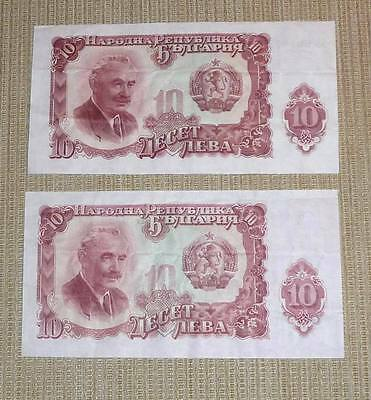 Bulgaria - Lot of 2 Banknotes - 10 Leva Dated 1951