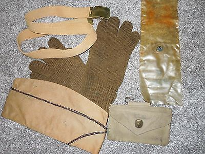 WWII NAMED 14th AAF Flying Tiger Service Pilot's Hat Gloves  First Aid Pouch Lot