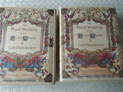 1981 Royal Wedding Princess Lady Diana 2 Matching Stamp Albums 1050+ MNH Stamps