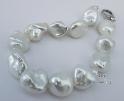 HS 12.9x16.6mm Keshi South Sea Cultured Pearl Bracelet 18K White Gold 7.5 inches