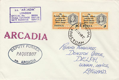 Tonga 4481 - Used in GREECE  1 968  PAQUEBOT cover to UK