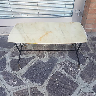 Low Living Room Table Italian 1960 Vintage Marble Panel