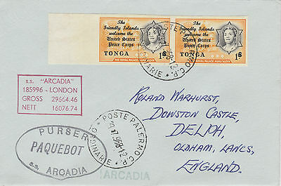 Tonga 4486 - Used in PALERMO, SICILY 1968  PAQUEBOT cover to UK