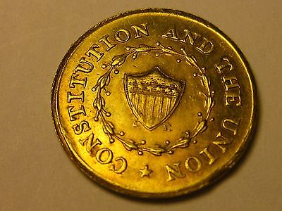 Rare,1863, R. T. Kelly. Top Hat Token.  **brass**   Constitution And The Union