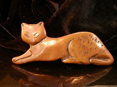 So Cute Large Copper Plated Lazy Cat Hair Barrette Vintage 1980's To Mod 169my7