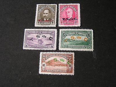 **honduras, Scott # 307/308(2)+311-315(3), Total 5 1931 Ovpt Pictorial Issue Mng
