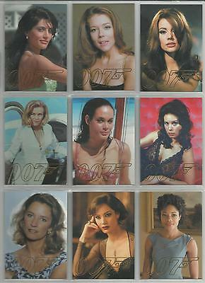 """James Bond Autographs & Relics - """"Gold Gallery"""" 9 Card Chase Set #GG39-GG47"""