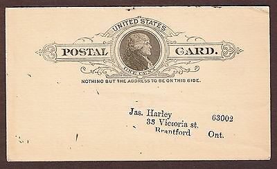Old 1800s Post Card from GALESBURG, ILL U.S.A. to Jas. Harley Brantford, CANADA