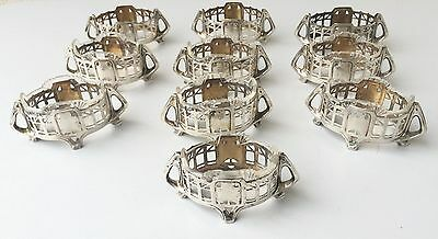 German Art Nouveau set of 10 salt cellar solid silver antique jugendstil