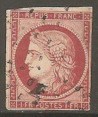 1849 France Ceres 1f. Carmine-Brown SG 18 Used (Cat £1200)