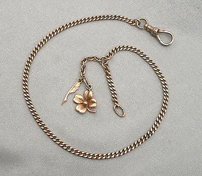 10K Yellow GOLD ANKLET Made From Antique Edwardian Pocket WATCH CHAIN 2 Charms