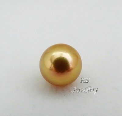 HS Rare Round 10.7mm Loose Golden South Sea Cultured Pearl Top Grading