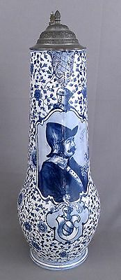 "19"" Bulbous Royal Bonn Delft German Stein, Porcelain & Pewter, 4304/5 & 122"