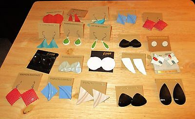 New 20 piece lot set metal costume fashion earrings red blue stud dangle button