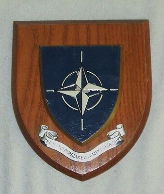 NATO Pipeline Committee AC/112 naval wall plaque Navy crest wooden shield  NATO