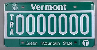 "Vermont (VT) Trailer ""TRA"" Sample License Plate 0000000 w/ Original Envelope"