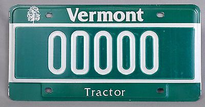 Vermont (VT) Tractor Sample License Plate 00000, w/ Orig. Envelope