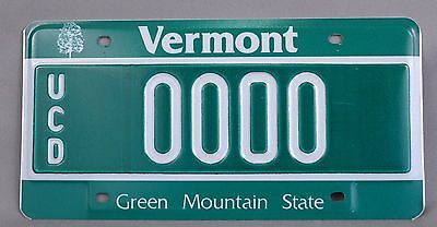 Vermont (VT) UCD Dealer Sample Car License Plate # 0000 w/ Original Envelope