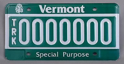 "Vermont (VT) TRK ""Special Purpose"" Sample License Plate 0000000 w/ Orig Envelope"