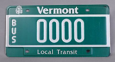 "Vermont (VT) Local Transit ""BUS"" Sample License Plate 0000 w/ Original Envelope"