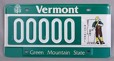 Vermont (VT) National Guard Sample Car License Plate 00000, w/ Orig. Envelope