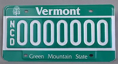 Vermont (VT) NCD Dealer Sample Car License Plate # 0000000 w/ Original Envelope