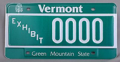 Vermont (VT) EXHIBIT Sample Car License Plate # 0000 w/ Envelope