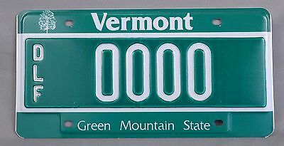 Vermont (VT) DLF Dealer Sample Car License Plate # 0000 w/ Envelope