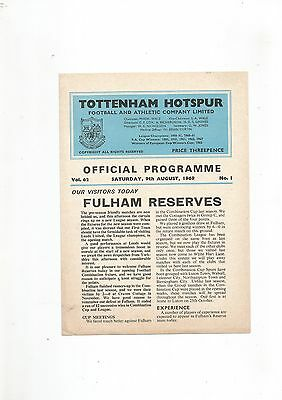 Tottenham Res v Fulham Res 9th August 1969