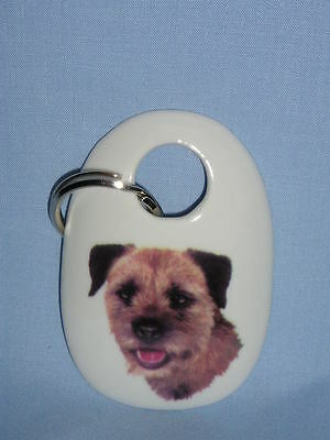 Border Terrier Dog Key Chain Fired Head Decal Porcelain Handmade