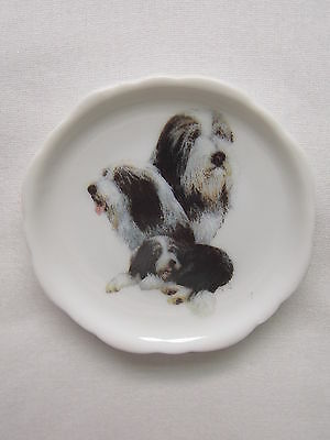 Bearded Collie Dog 3 View Porcelain Plate Magnet Fired Decal- 26