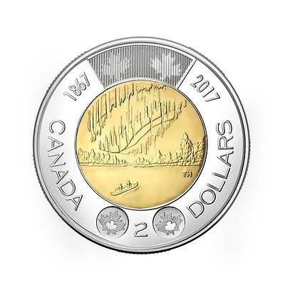 2017 Canada 150th Anniversary $2 Toonie - Brilliant Uncirculated from Mint Roll