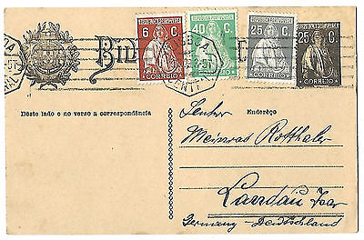 Portugal 1929 Ceres uprated stationery card to Germany