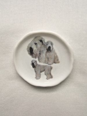 Soft-coated Wheaton Terrier Dog 3 View Porcelain Plate Magnet Fired Decal- 27