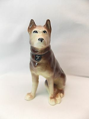 Vintage Sitting Brown Staffordshire Terrier  Dog Figurine Porcelain 4 1/2 In Tal