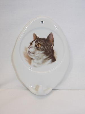 Black,Grey,White Tabby Cat Towel or Leash Holder Porcelain Fired Head Decal