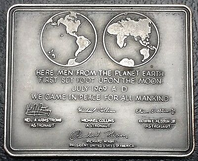 1969 First Landing on the Moon Plaque - Armstrong, Collins, Aldrin