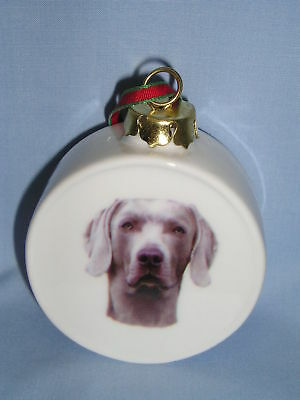 Weimaraner Dog  Drum Shape Porcelain Christmas Tree Ornament 2 1/2 IN Decal-H