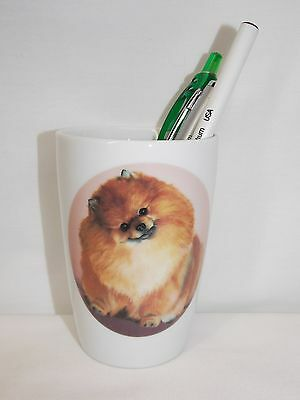 Pomeranian Dog Pencil Holder Porcelain Fired Decal 4 In tall