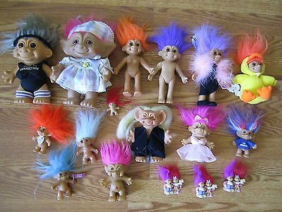 Lot of 17 Old TROLL DOLLS Mostly Russ