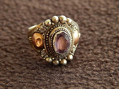 antique Hungarian silver - gold ,ring , amethyst , ,18th century