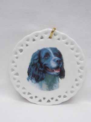 English Springer Spaniel Dog Lattice Porcelain Christmas Tree Ornament Decal