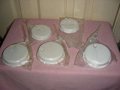 5 New Plastic Doll Stands - 9 inches tall; base diameter-4 inches; white