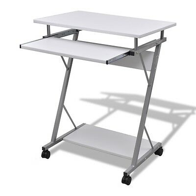 #Computer Desk Pull Out Tray White Furniture Office Student Table