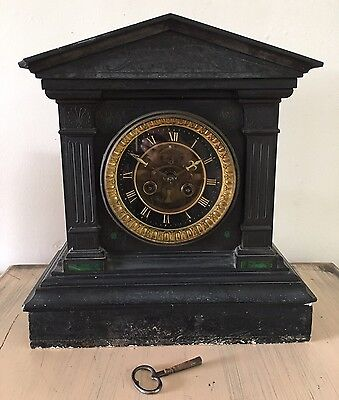 Impressive Antique Black Slate Mantle Clock Bell Chime Green Inlay