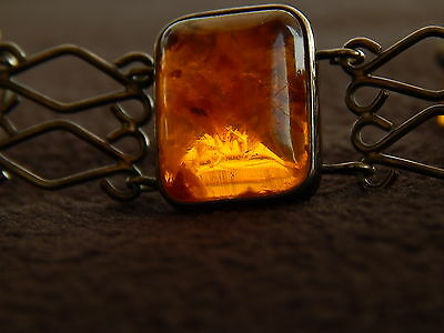 antique amber Fishland silver bracelet , ring . 835 silver , baltic