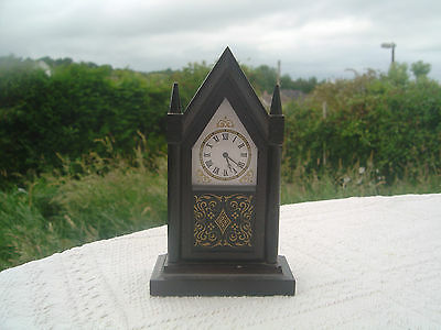 "Franklin Mint Reproduction Antique Gothic Steeple Clock - 4"" High / Miniature"