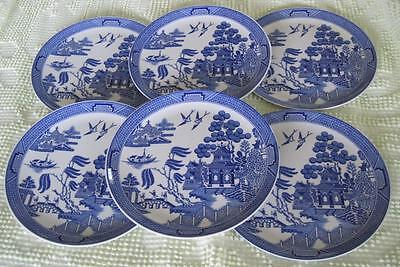 "Six Spode The WIllow Pattern 8.25"" Plates"