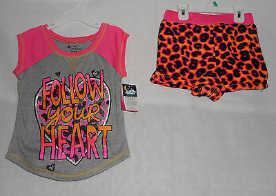 New Girls Size 4/5 2 Piece Pajama Set Short Sleeve Shorts Pink