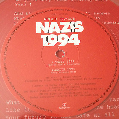 """Queen - ROGER TAYLOR - Nazis 1994 ~12"""" CLEAR Vinyl *Numbered Limited Edition*"""
